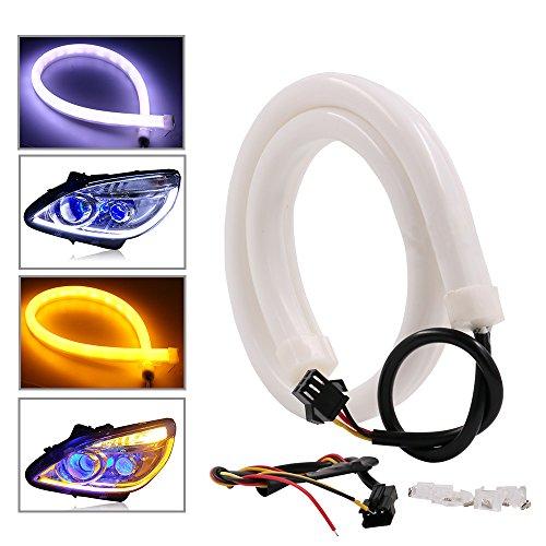 RCJ -Striscia luminosa LED in tubo morbido, due colori, per luci di posizione, frecce, retromarcia, LED bianco e ambra (2x 30cm)