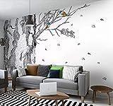 Papier Peint 3D Main Dessinée Mode Arbres Noir Et Blanc Papier Peints 3D Effet Intissé Moderne Décoration Murale - 200x140cm