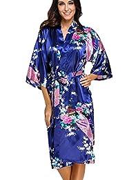FLYCHEN lange Kimonos für Damen Bademantel aus Satin mit Pfau und Blüten Morgenmantel Robe