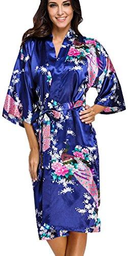OLIPHEE Lange Kimonos für Damen Bademantel aus Satin mit Pfau und Blüten Morgenmantel Robe Dunkelblau 4XL (Roben ärmel 3 4)
