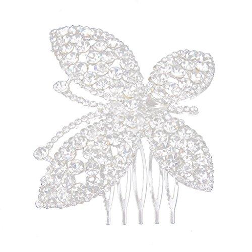 Peigne à Cheveux Décoratif en Strass Forme de Papillon Accessoire de Coiffure pour Mariée