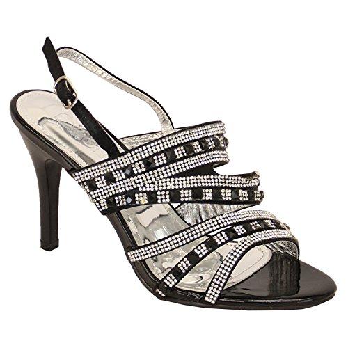 Donna Womens Punta Aperta Di Diamante Tacco Medio Sandali Alla Caviglia Scarpe Da Kelsi Nero - SK05