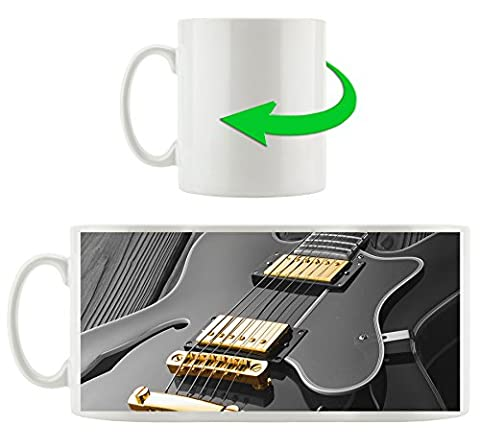 elegante E-Gitarre schwarz/weiß , Motivtasse aus weißem Keramik 300ml, Tolle