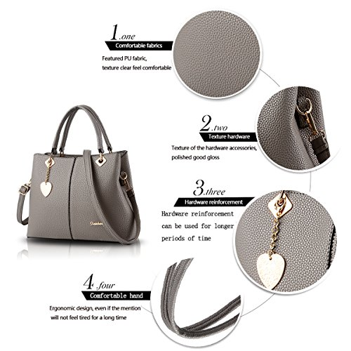 Sunas Borsa dell'unità di elaborazione semplice spalla borsetta borsa borsa messenger bag Ms. grigio