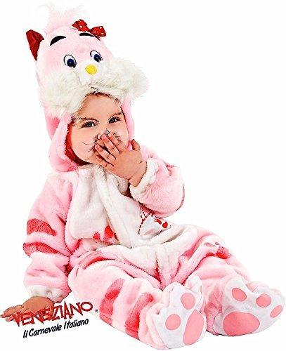 (Fancy Me Italienischer Deluxe Baby Mädchen weich flauschig Pink Kätzchen Katze Tier Halloween Kostüm Outfit Verkleidung 6-12 Monate - Rosa, 9-12 Months)