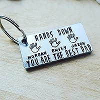 Hand Stamped Key Ring Hand Print Personalised Dad Mum Nan Grandad Gift Birthday Christmas