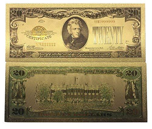 MODEOR New 20 Dollar Bill 24k Gold Art Collectibles plattiert gefälschte Banknotenwährung für die Dekoration