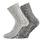 FussFreunde,2 Paar dicke ABS-Socken / Stopper-Socken EIN ECHTER HAUSSCHUH-ERSATZ (39/42, Graue Naturtöne)