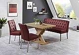 Dreams4Home Sitzbankgruppe 'Dios II' - Set, Essgruppe, Tischgruppe, 2 Stühle, Esstisch mit Einlegeplatte L/B/H:120(158,5)x80x75cm, 1 Bank L/B/H:158x66x89cm, modern, Esstisch mit Kreuzgestell, Honigeiche Dekor, Bezug bordeaux rot