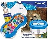 Pelikan Deckfarbkasten Space+ 735 SP/12 mit 12 Farben und 1 Tube Deckweiß (Komplett-Set blau mit Space-Becher + Malschürze + Pinsel-Set + A3 Block)