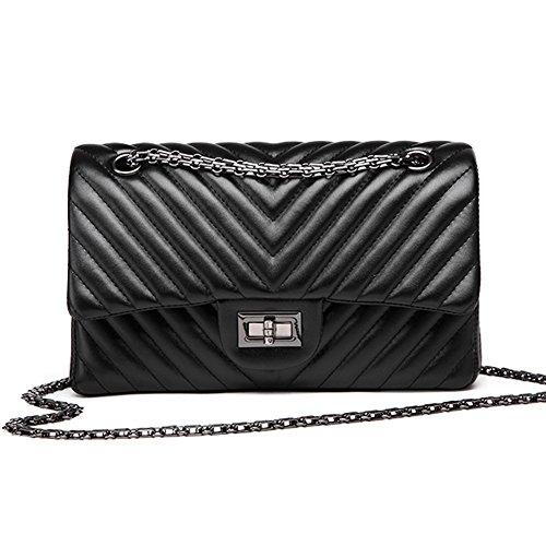 """Macton V-Grain-Leder Frau Umhängetasche Kette Tasche Schafs MC-5006 (M-10.2"""", schwarz) (Logo Handtaschen Gucci)"""