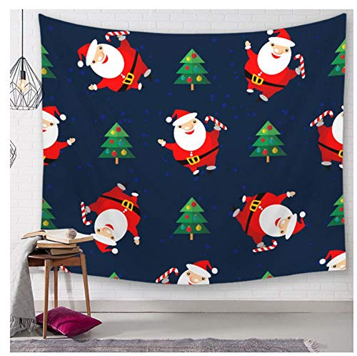 FMITT Christmas Tree and Santa Claus Wall Tapestry Santa Claus Gift Elk Printed Cartoon Wall Cloth Tapestries Wall Carpet Mattress Blanket Tablecloth Throw,150x130cm -
