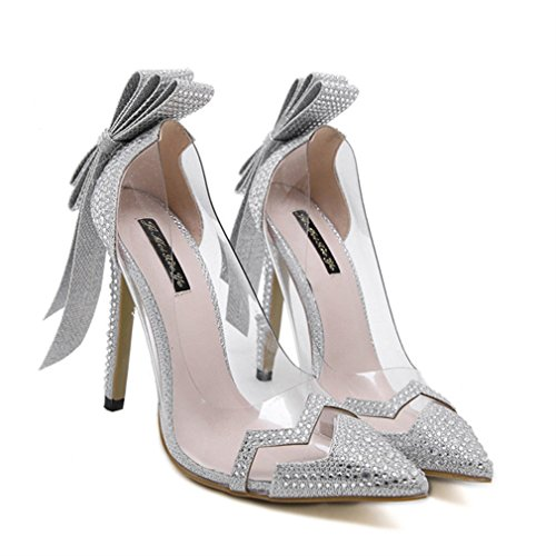 Xianshu Damen Reizvoller Glas Kleber Rhinestone Querbinder Spitzte Absatz Schuhe(Silber-38)