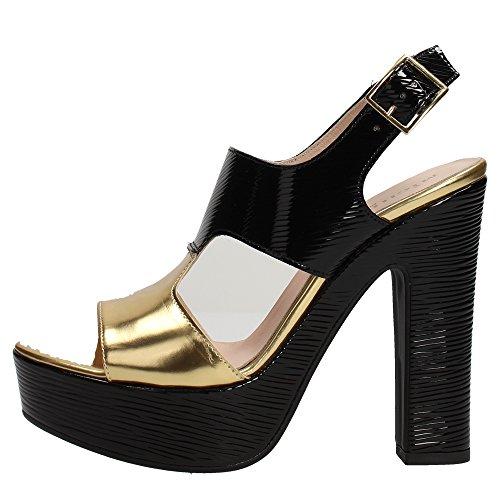 Micheggio 0476 Sandalo Donna Pelle Nero/oro Nero/oro 36