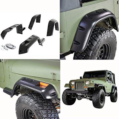 E-Autogrilles 87-95 Jeep Wrangler YJ Pocket Rivet Style Front + Rear Fender Flares (17191) by E-Autogrilles