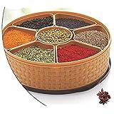 Ckarss Oven Masala Rangoli Box (Dabba) - 7 Sections, 1000ml, Assorted Colour (Multicolour).