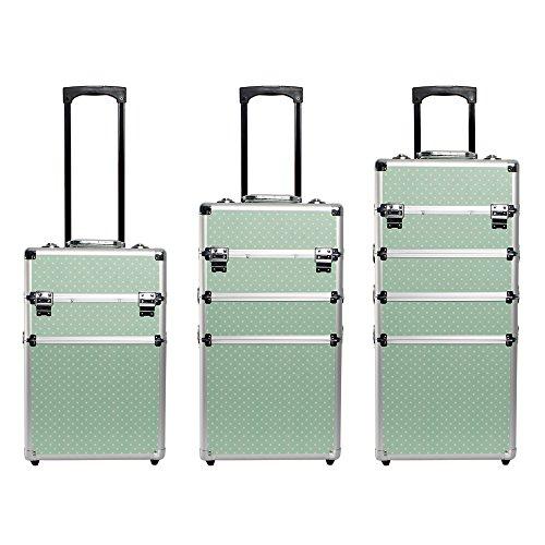 Kosmetikkoffer leer in XXL – Farbe Mintgrün mit Weißpunkt - 5
