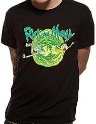 T-shirt noir imprimé officiel de Rick and Morty Portal pour homme officiel | Tailles S-XXL