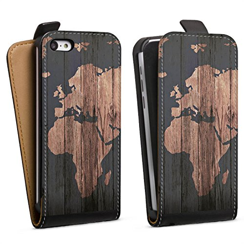 Iphone-hülle World 5c Map (Apple iPhone 5c Tasche Hülle Flip Case World Map Weltkarte Holz)