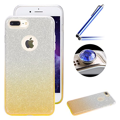 "Etsue Glitter Silikon Schutzhülle für iPhone 7 Plus 5.5"" 2016 TPU Case, Bling Glitter Abnehmbare ultradünne TPU Bumper Case Sparkles Glänzend Glitzer Silikon Crystal Case Durchsichtig Soft Rückseite C Gradient,Golden"