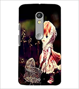 PrintDhaba Cute Doll D-1040 Back Case Cover for MOTOROLA MOTO X PLAY (Multi-Coloured)