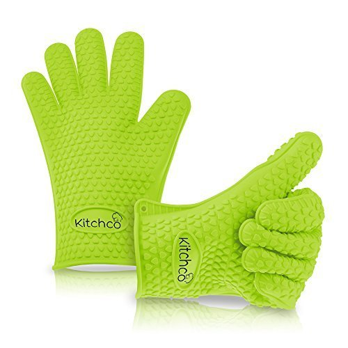 KitchCo Premium Silicone BBQ Gloves - Perfect For Use As Heat Resistant Cooking Gloves, Grill Gloves, Or Potholder - Directly Manage Hot Food In The Kitchen - Protect Your Hands And Avoid Accidents With Insulated Waterproof Five-Fingered Grip - Far More P