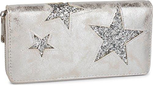 styleBREAKER Geldbörse mit Stern Cutout Muster und Pailletten, umlaufender Reißverschluss, Portemonnaie, Damen 02040046, Farbe:Antik-Silber / Stern Silber