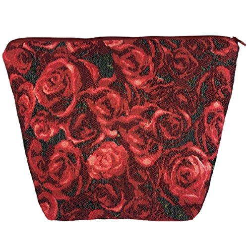 Grande Tapisserie Style Maquillage et trousse de toilette avec deux compartiments. Motif roses avec fermeture Éclair