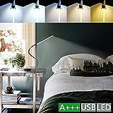 LED Klemmleuchte 6W dimmbare Bettleuchte Farben Leselampe Flexible Augenschutz für Schlafzimmer Büro mit 5 Helligkeitstufen mit 5 helle USB-Kabel Inklusive