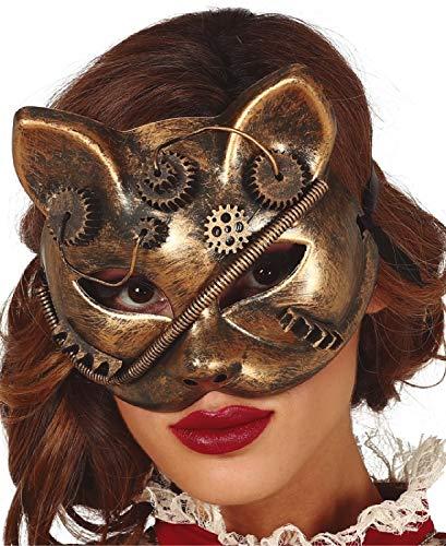 Fancy Me Maschera da Donna Steampunk Gatto felino Vittoriano inventore Carnevale Halloween Costume Costume Accessorio