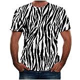 IZHH Chemises pour Hommes Eté Nouveau Full 3D Imprimé Confortable T-Shirt Plus La Taille S-3XL Cool Impression Motif Zèbre Haut