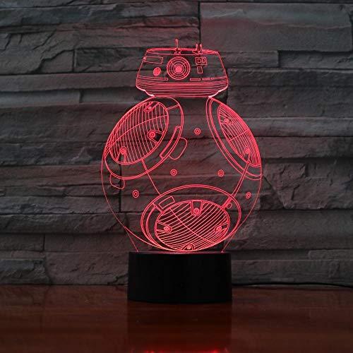 ZNNYE 3D Nachtlichter Kinder Neue Bb8 Roboter Led Lichter Tisch Halloween Dekoration Geschenke Kinder Abschlussfeiertag Usb 7 Farbe Ersatz Lava Lampe