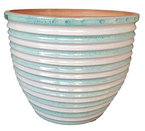 Vaso (set di due pezzi) per piante e fiori in ceramica artistica vietrese con le righe - dipinto a mano, bianco e verde ramina -made in italy; diametro cm. 38, altezza cm. 25.