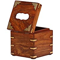 SouvNear Tissue Paper Box Square Wood Box for Tissues Dispenser with Brass Inlay Upright Standing Kleenex Tissue Box Holder
