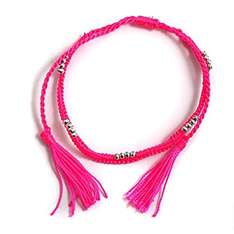 Gift Card Hot Pink Cord and Chrome Beads with Yellow Flash Ladies Ankle Bracelet Anklet perfect for Beach Summer Festival Season Boho