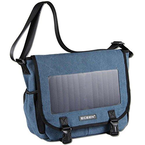 ECEEN Tasche Pack mit Solar Panel Ladegerät, Power Bank für Smart Phone, Lautsprecher, Tisch, Messenger Bag Blue -