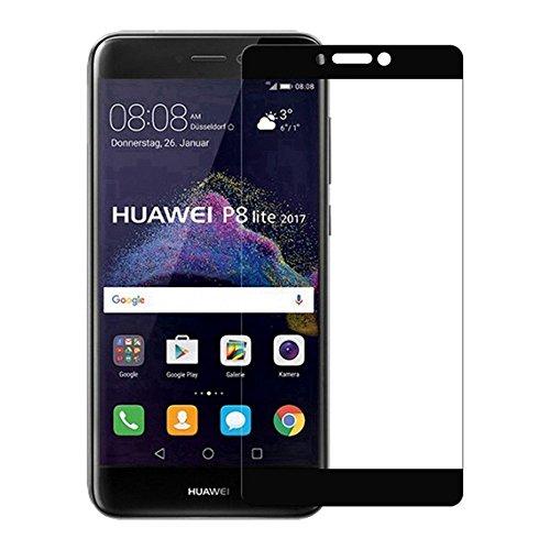 Preisvergleich Produktbild (2 Pack)Huawei P8 lite 2017 Panzerglas - EUGO Full Coverage 9H Gehärtetem Glas Schutzfolie Displayschutzfolie Panzerglas für Huawei P8 lite 2017 - Schwarz