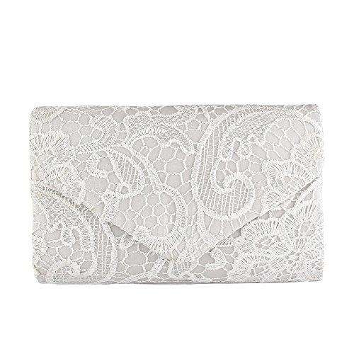 Jian Ya Na Damen Kupplungs-Geldbeutel-Handtasche Elegante Blumen Spitze-Abend-Beutel-Umschlag-Entwurf für Hochzeit Prom Cocktail Weiß