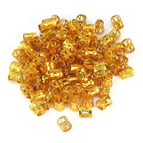 Haar Perlen 100 Teile/beutel Neue Bunte Haar Flechten Perlen Ringe Manschette Dekoration Werkzeuge Zubehör (Farbe : Gold) - Braid Tube