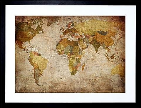 MAP GLOBE WORLD ATLAS ANTIQUE STYLE MODERN LAYOUT FRAMED PRINT