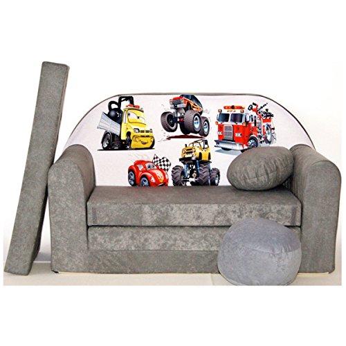 Minicouch Kindersofa Babysofa Sofa Set Sitzkissen Matratze weiche Velours verschiedene Farben (A14 grau Trucker)