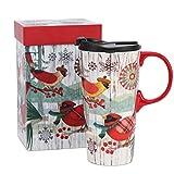 Cypress Home Keramik-Kaffeetasse mit Deckel und passender Geschenk-Box, 17oz. Yellow and Red Bird