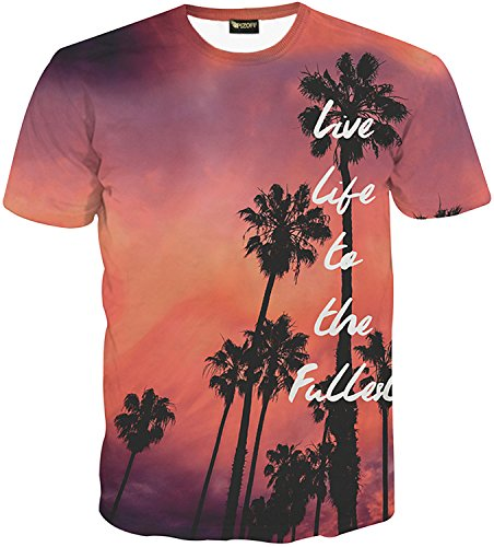 Pizoff herren T-Shirt Kurzarm Palmenmuster interessante 3D-Druckmodus System Street Fashion Hip-Hop-Stil komfortable unisex Tops Sommer Y1625-75-L (Co Stil & T-shirt Top)