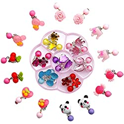 Aretes de Cristal con Clip, Comius 14 Pares Pendientes de Juego de Niña Pinza de Princesa con Pendientes Favores de la Fiesta de Cumpleaños
