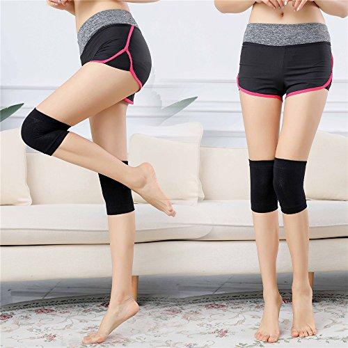 Icytail 1 Paar Cotton Kniebandage, Knieschoner, knieschützer, Atmungsaktive Kniestütze für Damen & Herren, Muskelstabilität & natürliche Bewegung beim Sport und im Alltag (One Size, Schwarz)