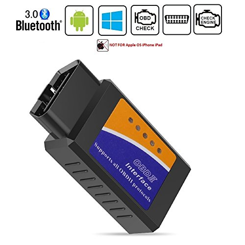 Friencity Bluetooth coche OBD ii 2 OBD2 escáner adaptador, lector de código de motor del vehículo para el coche herramienta de diagnóstico de diagnóstico Compruebe la luz del motor, compatible con dispositivos Android y Windows, NO para iOS iPhone