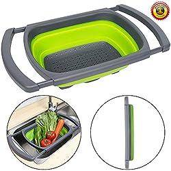 Colador plegable de Senter, para usar encima de fregadero, para vegetales y frutas, con asas extensibles (verde y rojo), Verde, 39*26*5.5
