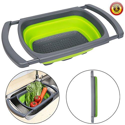 Senter - Escurridor plegable para colocar sobre el fregadero, con asas extensibles, para frutas y verduras, color verde y rojo, Verde, 39*26*5.5