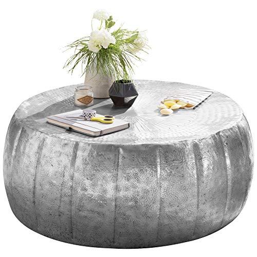 FineBuy Couchtisch JAMALI 72x31x72cm Aluminium Beistelltisch Silber orientalisch rund | Flacher Sofatisch Metall | Design Wohnzimmertisch modern | Loungetisch Stubentisch klein