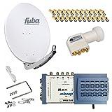 HB-Digital SET: FUBA 8 Teilnehmer Digital SAT Anlage 65cm DAA650G + hochwertiger LNB 0,1dB FULL HDTV 4K + 5/8 Multischalter + 24 Vergoldete F-Stecker Gratis dazu